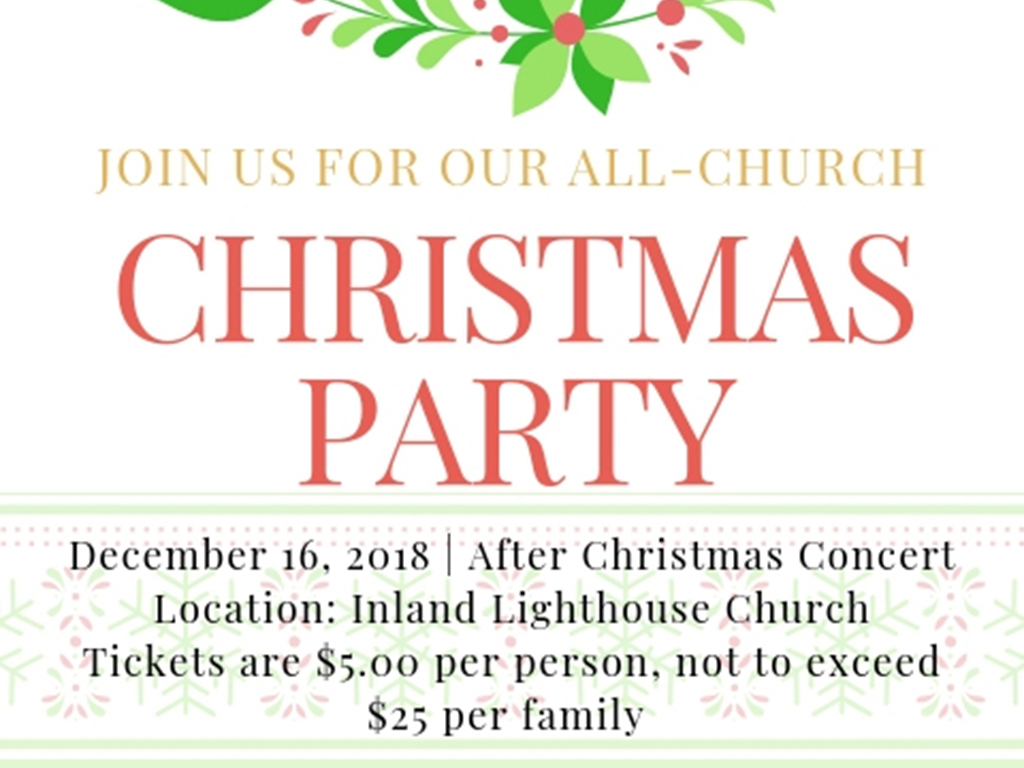 All Church Christmas Party | Dec 16, 2018