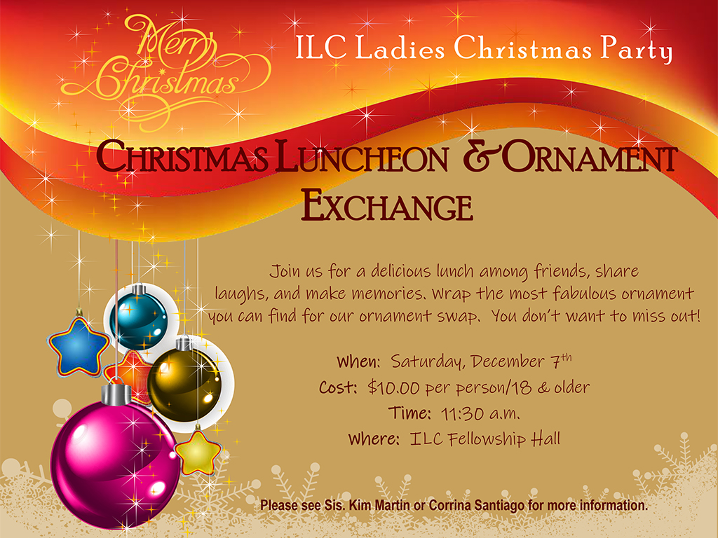 Ladies Christmas Party   December 7, 2019