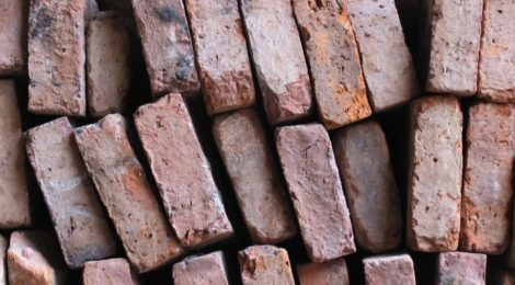 Extruded paper waste bricks.