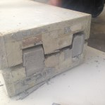 Casting of recycled rubber blocks