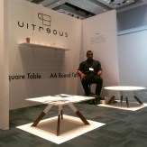 Vitreous stackable cups and tables by Architect Marvin Arroyo