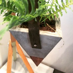 Concrete and wood hanging planter by Modus Design