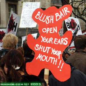 British demonstration against Bush and Blair