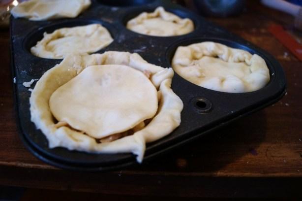 preparing the mini pies