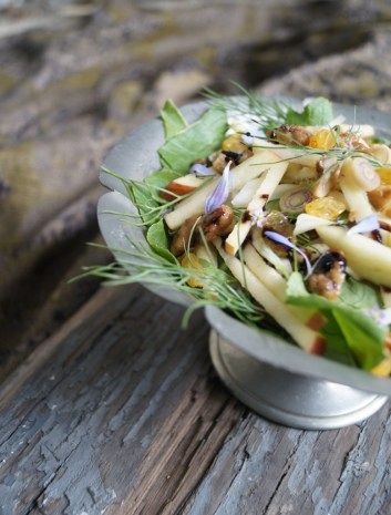 Catelyn's Salad - turnip greens, fennel, apple, lemongrass, walnuts, and raisins