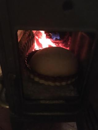 bread baking in woodstove
