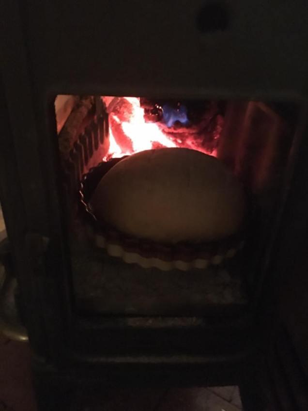 bread baking in woodstove