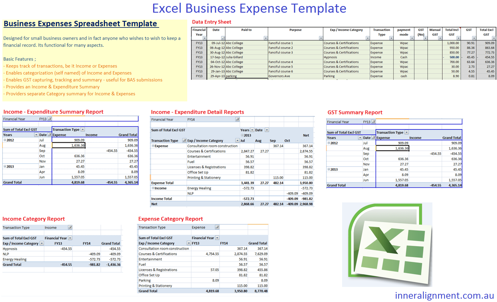 Excel Free Business Expense Template Inner Alignment