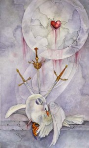 3 of Swords from The Shadowscapes Tarot by Stephanie Pui-Mun Law