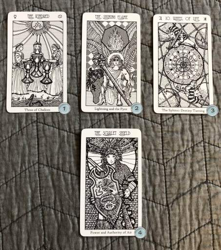 Winter solstice 2018 Spread using the Spirit Keeper's Tarot by Benebell Wen. Card one is 3 of cups. Card two is Knight of Wands. Card three is Wheel of Fortune. Card four is Queen of Swords.