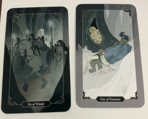 The 6 of Wands and Five of Pentacles from the Dark Wood tarot by Sasha Graham and Abigail Larson.