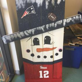 Tall Reversible Porch Sign Scarecrow/Snowman