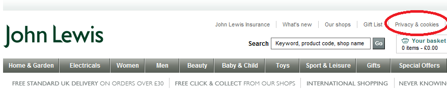 privacy policy john lewis