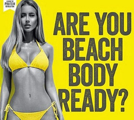 Protein World ad entitled'Are You Beach Body Ready?' with thin bikini clad woman