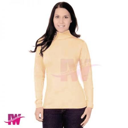 Ladies High Neck Skin Turtle Neck Sweatshirt Winter Warmer Tops Body Fit Innerwear Front Side