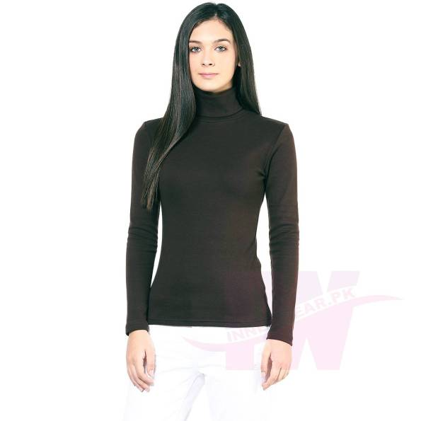 Ladies High Neck Sweatshirt Black Front Side