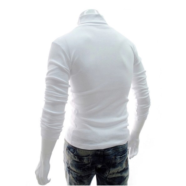 Men High Neck Turtle Neck Sweatshirt Tops T-Shirt White Back Side