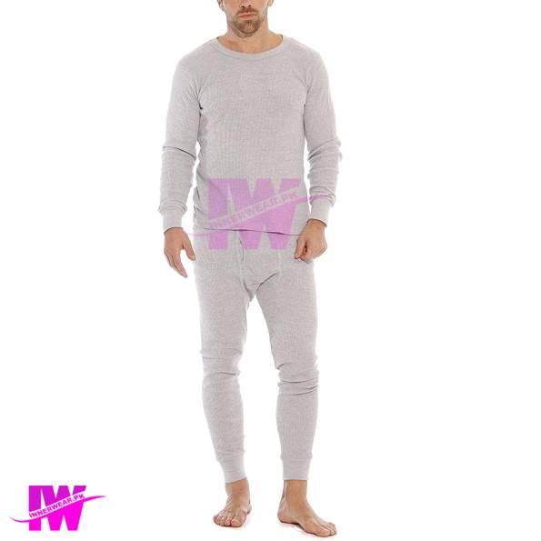 Men Long Johns Innerwear Therma Suit Body Warmer Winter Dress Light Grey Front