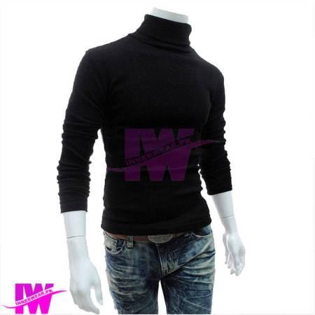 Men turtle neck high neck sweatshirt tops black