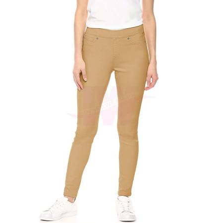 Ladies Denim Tights Skin Color One Size Front Side