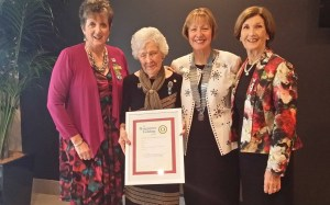 Margarette Golding Award recipient Nona Dart with IWA Past President Kay Morland, A50 District Chairman Lesley Carter and A50 Council Member Meryl Usback