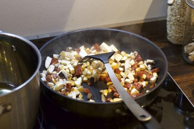 Sopp og chorizo