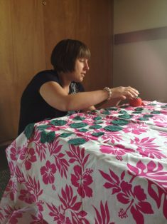 coworkers find peace in hand-sewing projects