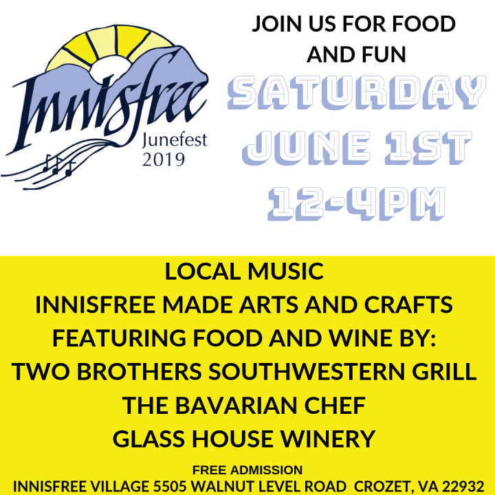 Innisfree Village Junefest 2019! Join us for food and fun on Saturday June 1st, 12-4pm. Free Admission.