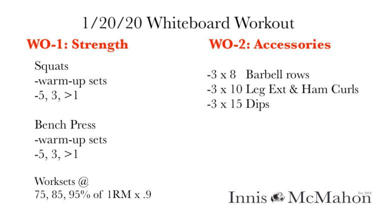 January 20th's workout plan