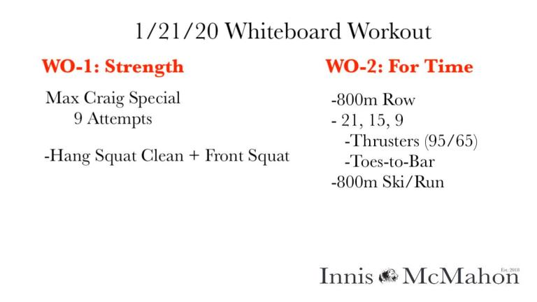 Workout routine for January 21st.