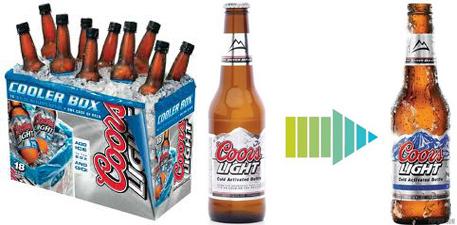 Cerveza Coors - Envase con etiqueta termica - innovacion