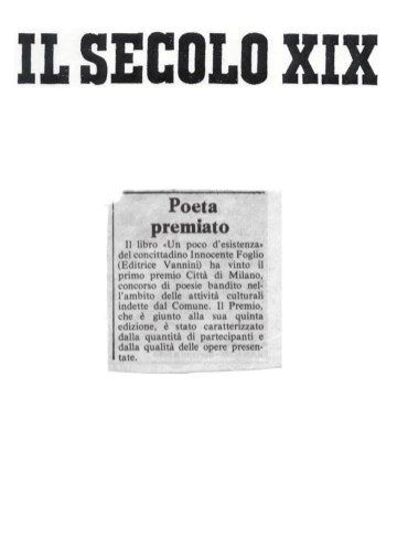 Poeta premiato - Il Secolo XIX