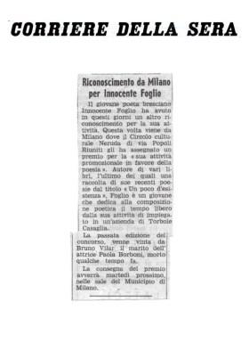 Riconoscimento da Milano per Innocente Foglio - Corriere della Sera