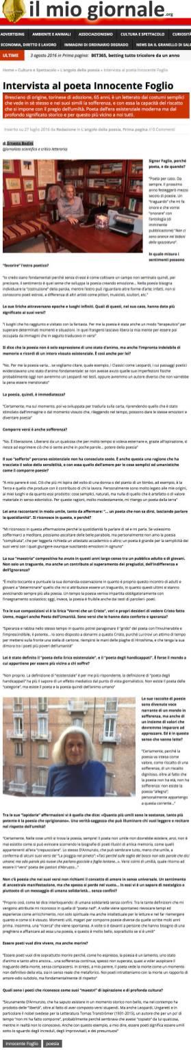Intervista di Ernesto Bodini per ilmiogiornale.org