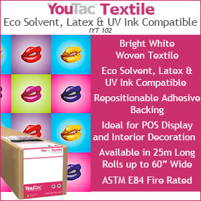 YouTac Textile Eco Solvent, Latex and UV Ink Compatible (IYT 102) | Printable Adhesive Textile