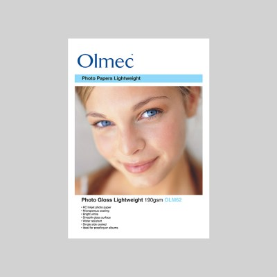 Olmec Photo Gloss Lightweight 190gsm Resin Coated Inkjet Photo Paper