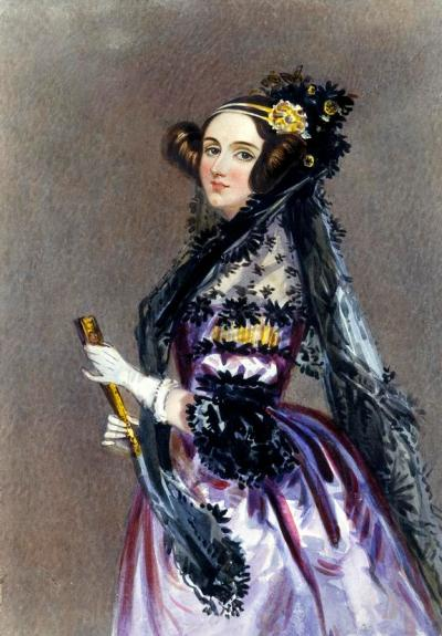 Ada Lovelace in evening dress with mantilla, possibly by A E Chalon (1780-1860), [c1840]