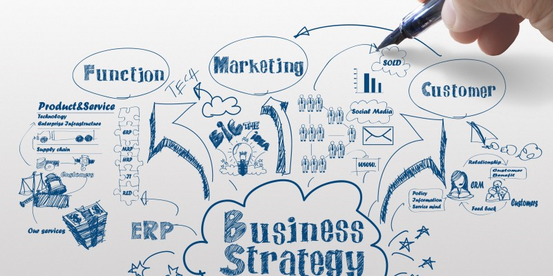 hand drawing idea board of business strategy process