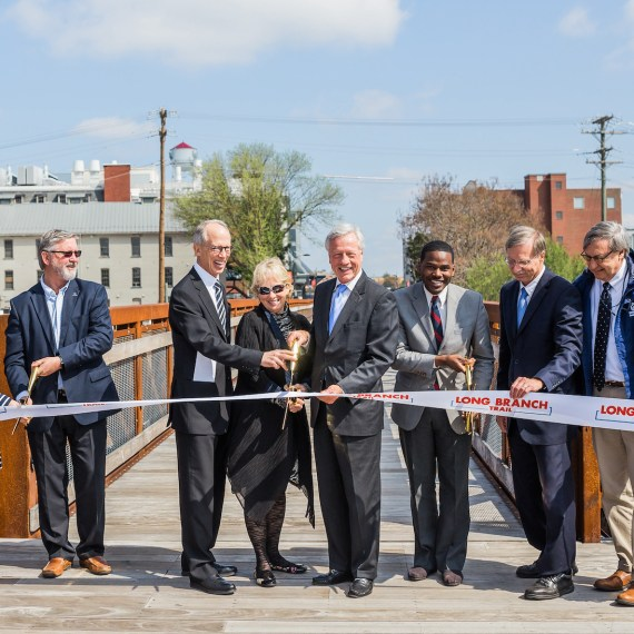 Ribbon cutting ceremony for the Innovation Quarter's Long Branch Trail