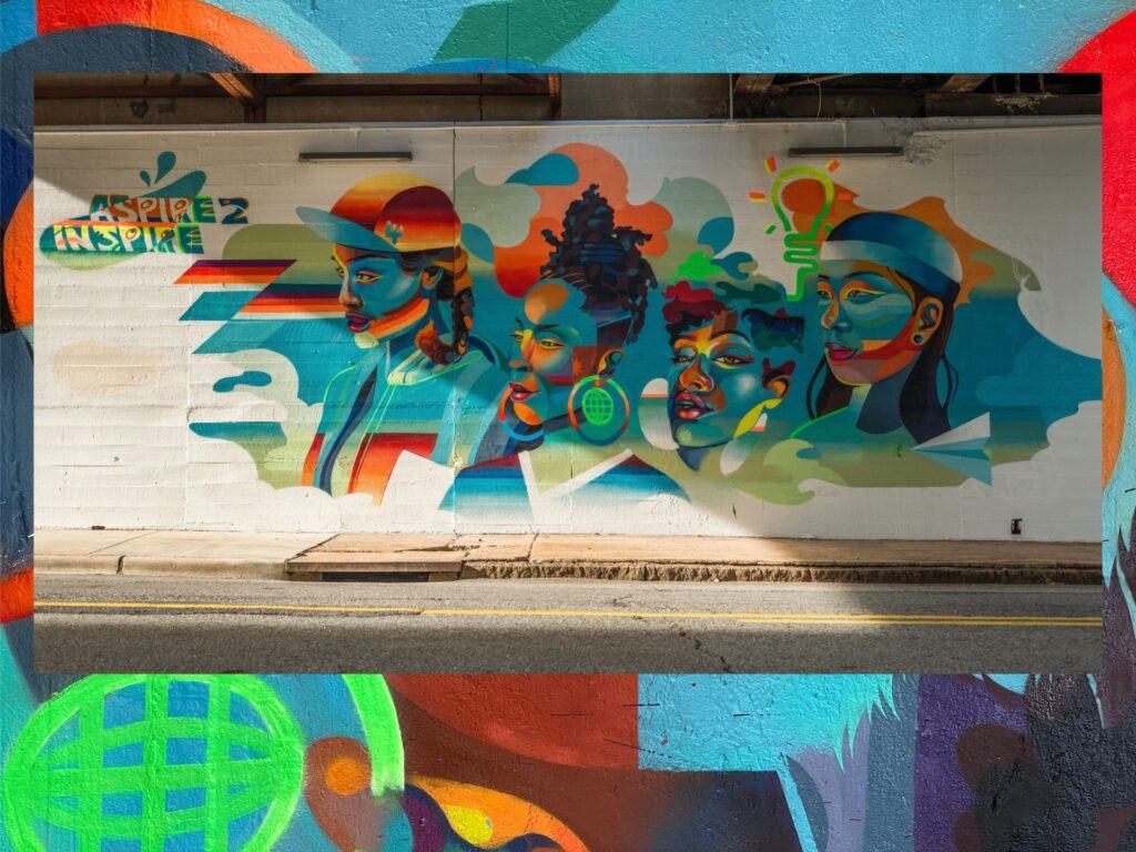 """""""Aspire to Inspire"""" art mural by Georgie Nakima."""