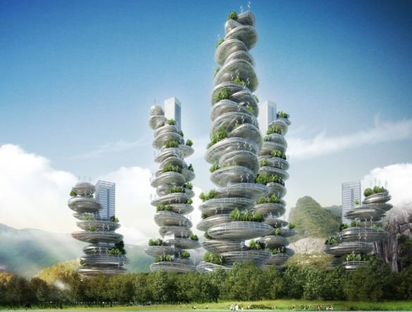 "These ""Farmscrapers"" Are Entire Cities In Crazy, Wobbly Looking Towers"