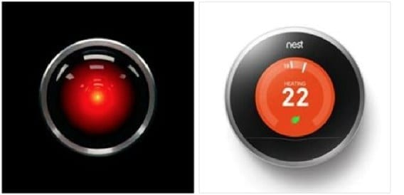 "Illustration: ""Just what do you think you're doing, Dave?"" Left, the all-knowing computer HAL-9000 from 2001: A Space Odyssey; Right, a Nest thermostat. From the Facebook page ""Nest Thermostat vs Hal 9000."""