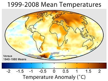 Mean surface temperature change for 1999–2008 relative to the average temperatures from 1940 to 1980 (Photo credit: Wikipedia)