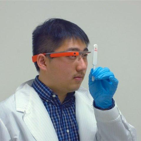 A custom Google Glass app reported in ACS Nano could help prevent the spread of disease around the world. Credit: American Chemical Society