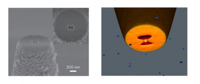 The image on the left is an electron beam microscopy image of the extremity of the plasmon nano-tweezers. The image on the right is a sketch illustrating the trapping of a nanoparticle in the bowtie aperture. Credit: Institute of Photonic Sciences