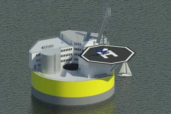 This illustration shows a possible configuration of a floating offshore nuclear plant, based on design work by Jacopo Buongiorno and others at MIT's Department of Nuclear Science and Engineering. Like offshore oil drilling platforms, the structure would include living quarters and a helipad for transportation to the site. Illustration courtesy of Jake Jurewicz/MIT-NSE