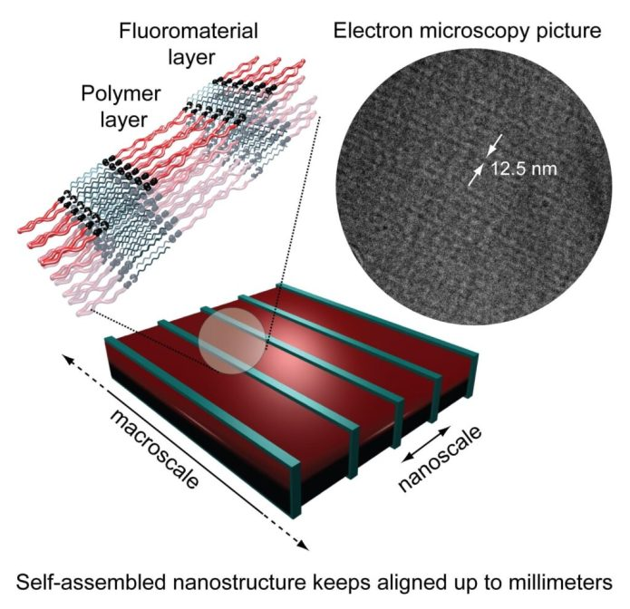 Schematics and electron microscopy picture of millimeters aligned self-assembled polymeric nanostructure.