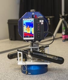 NASA Ames' Smart SPHERES, a Synchronized Position Hold, Engage, Reorient Experimental Satellites (SPHERES) equipped with Google's Project Tango smartphone. Image Credit: NASA Ames / Eric James