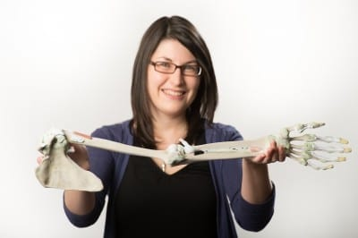 Michelle Quayle is pictured with part of the '3D Printed Anatomy Series' thought to be the first commercially available resource of its kind