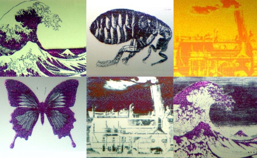 Still images drawn with the technology: at around 70 micrometres across each image is smaller than the width of a human hair.